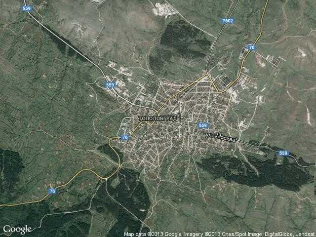 Сателитна карта на Тополовград
