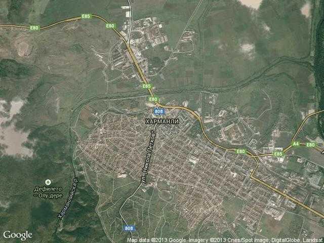 Сателитна карта на Харманли