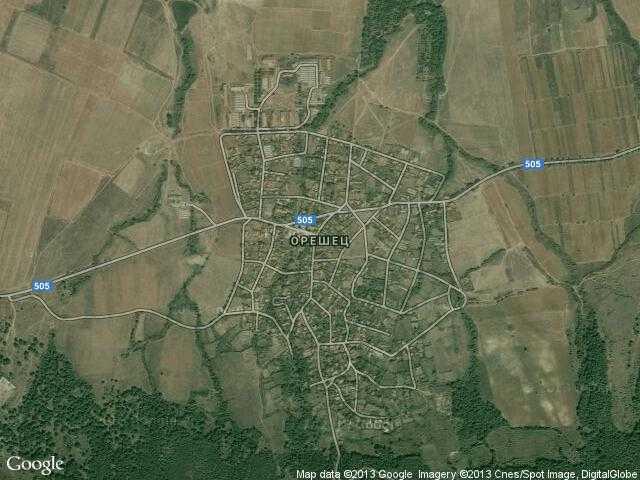 Сателитна карта на Орешец