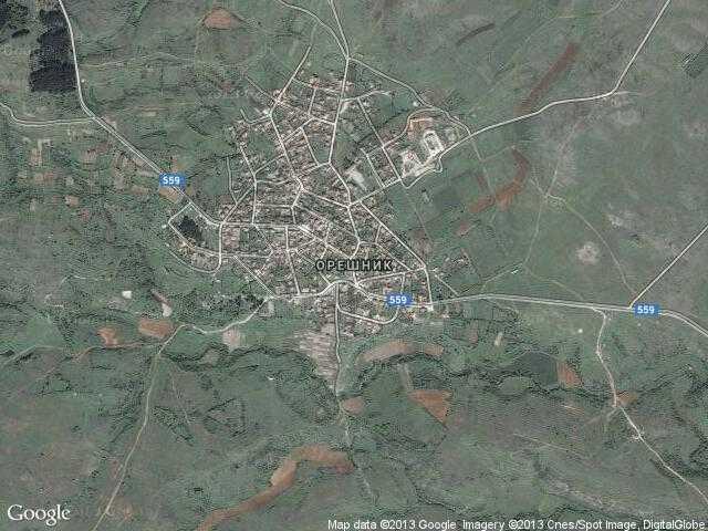 Сателитна карта на Орешник