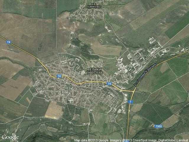 Сателитна карта на Велики Преслав