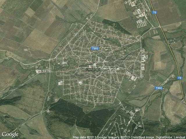 Сателитна карта на Смядово
