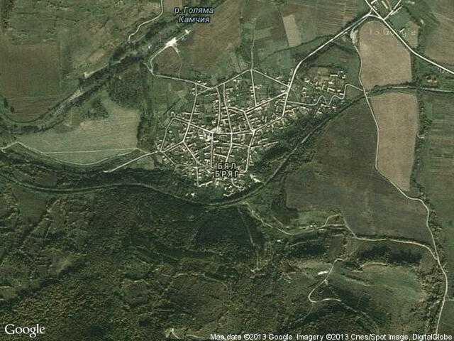 Сателитна карта на Бял бряг
