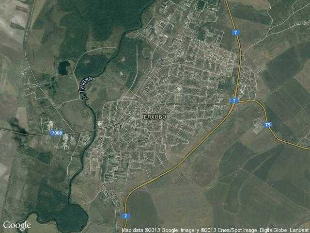 Сателитна карта на Елхово