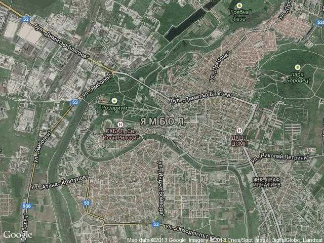 Сателитна карта на Ямбол