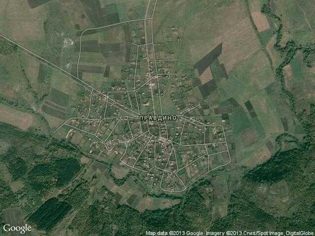 Сателитна карта на Правдино
